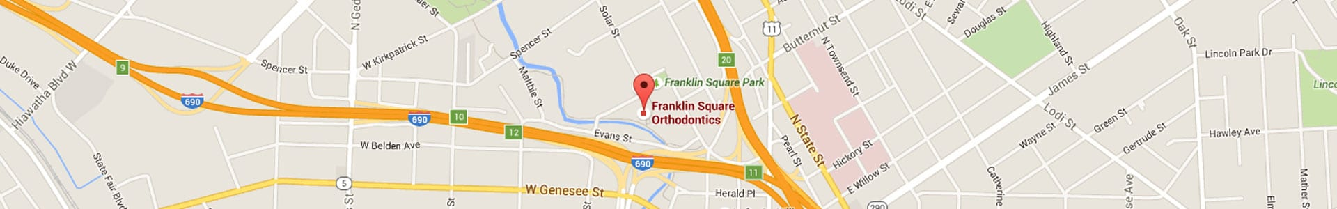Map at Franklin Square Orthodontics Syracuse NY
